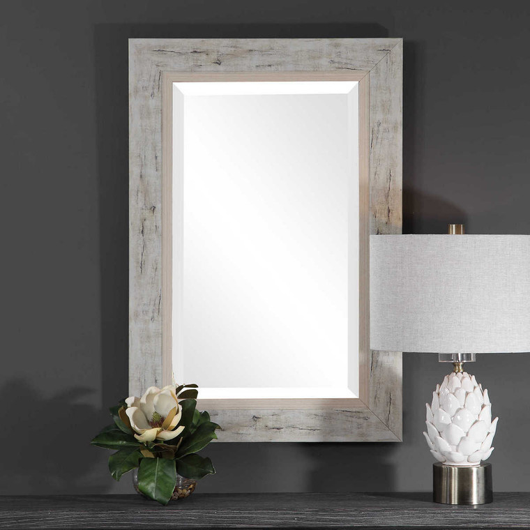 Branbury Rustic Light Wood Mirror - Size: 152H x 76W x 3D (cm)