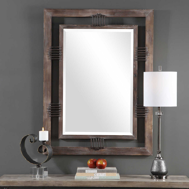 Ebbe Rustic Farmhouse Mirror - Size: 123H x 92W x 6D (cm)