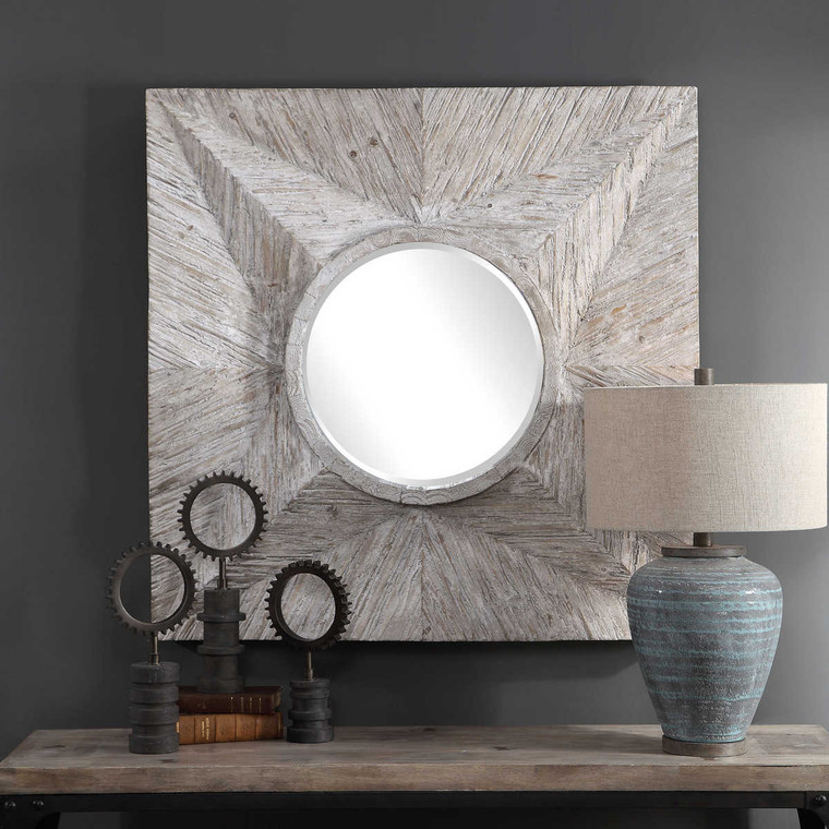 Huntington Light Gray Square Mirror - Size: 106H x 106W x 12D (cm)