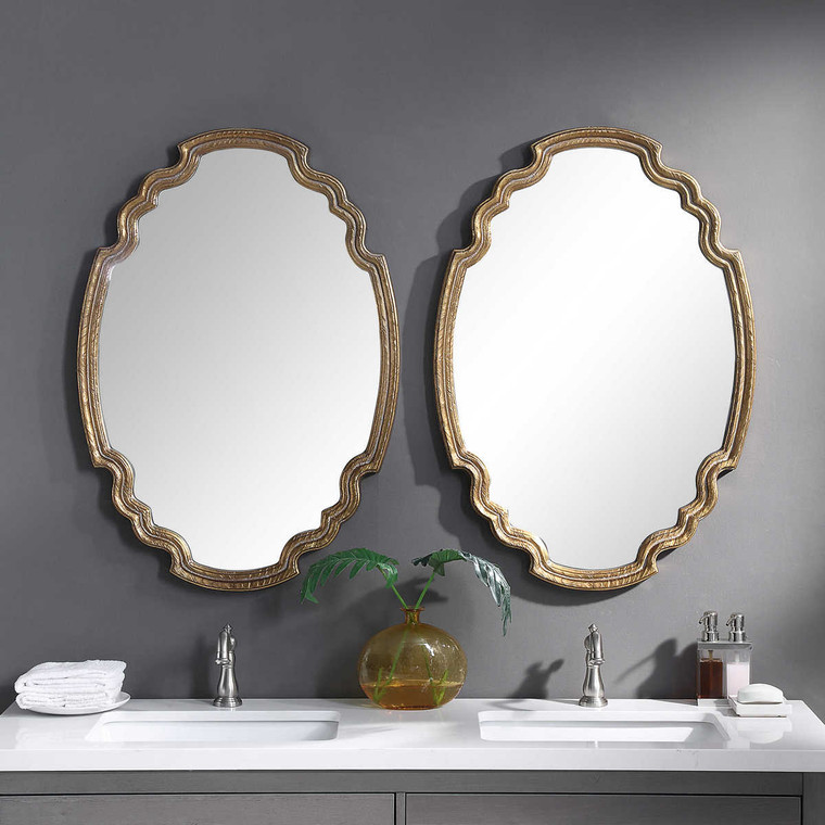 Ariane Gold Oval Mirror - Size: 88H x 62W x 4D (cm)