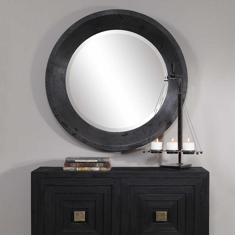 Frazier Round Industrial Mirror - Size: 102H x 102W x 7D (cm)