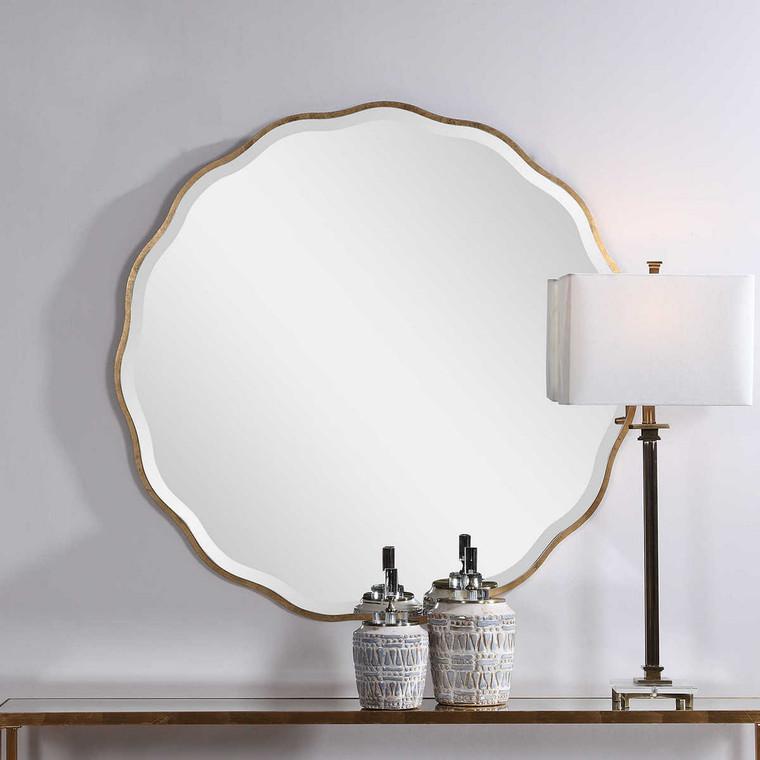 Aneta Gold Round Mirror - Size: 107H x 107W x 1D (cm)