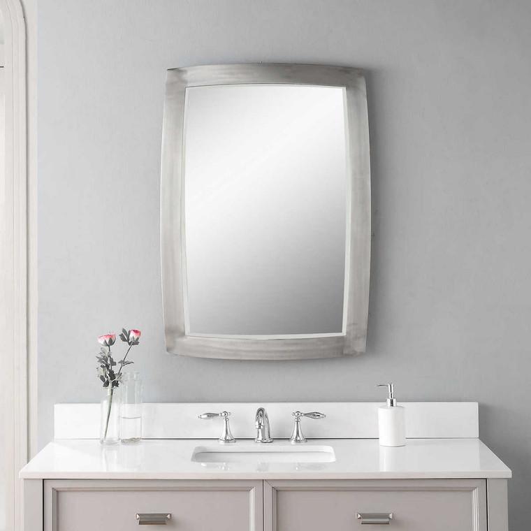 Haskill Brushed Nickel Mirror - Size: 87H x 61W x 3D (cm)
