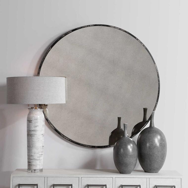 Argand Industrial Round Mirror - Size: 109H x 109W x 3D (cm)