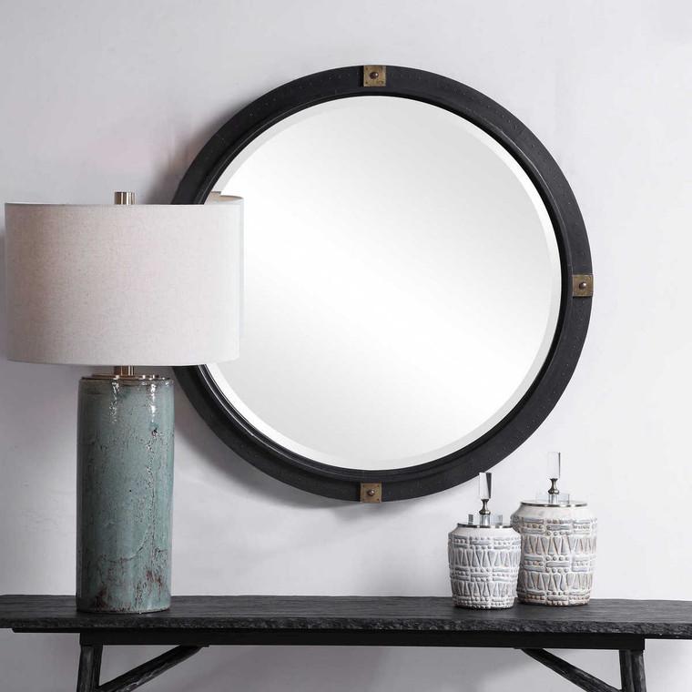 Tull Industrial Round Mirror - Size: 91H x 91W x 6D (cm)