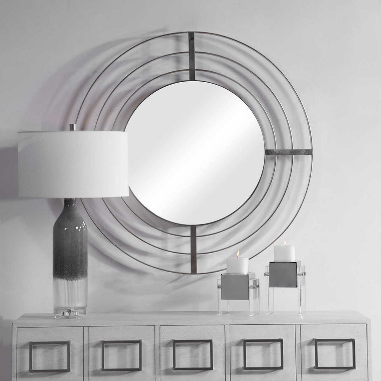 Bullseye Round Mirror - Size: 102H x 102W x 6D (cm)