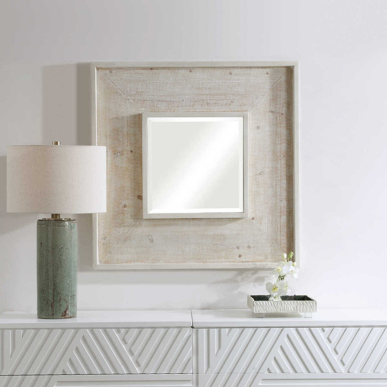 Alee Driftwood Square Mirror - Size: 102H x 102W x 5D (cm)