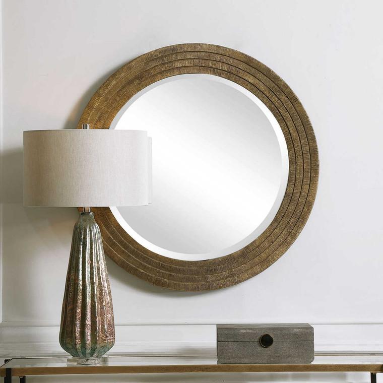 Relic Aged Gold Round Mirror - Size: 3H x 91W x 91D (cm)