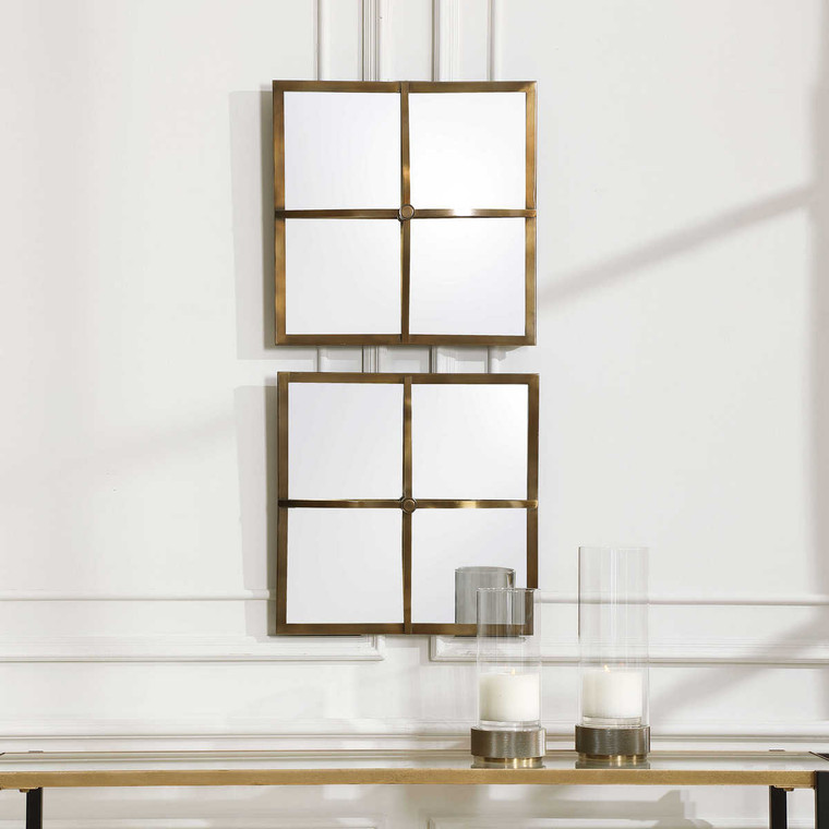 Window Pane Square Mirrors Set/2 - Size: 46H x 46W x 5D (cm)