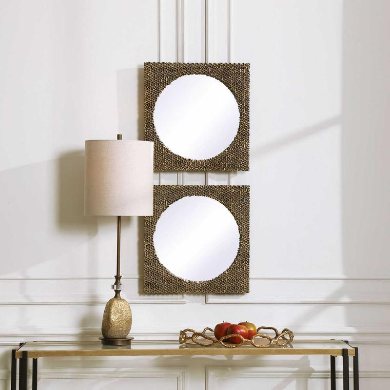 The Hive Gold Square Mirrors Set/2 - Size: 46H x 46W x 4D (cm)