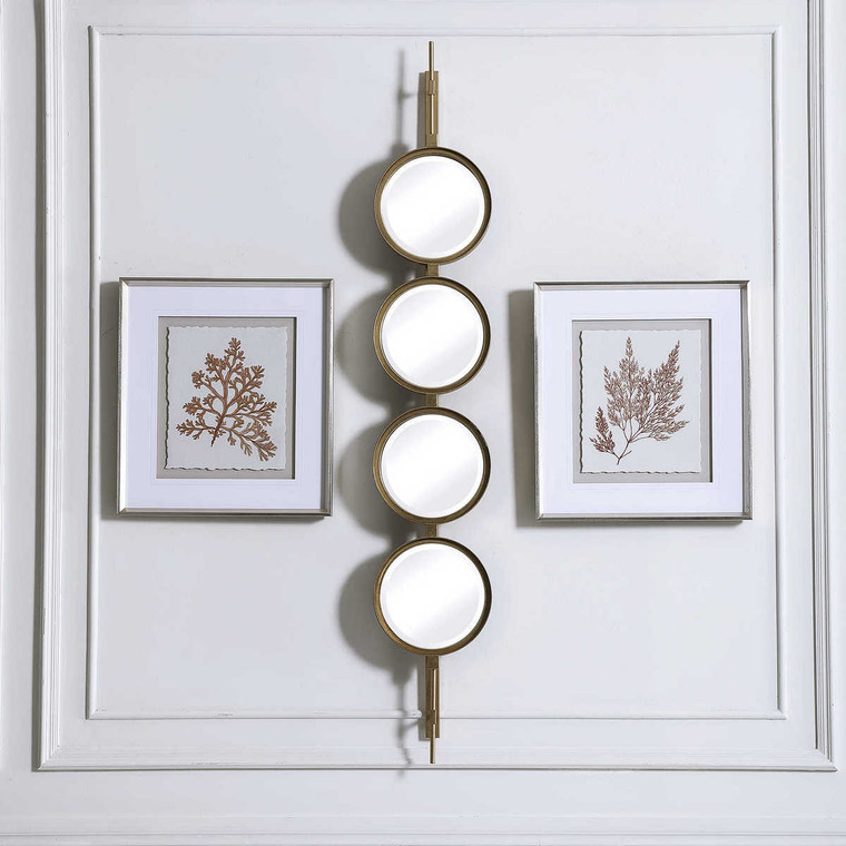 Button Gold Mirror - Size: 152H x 25W x 8D (cm)