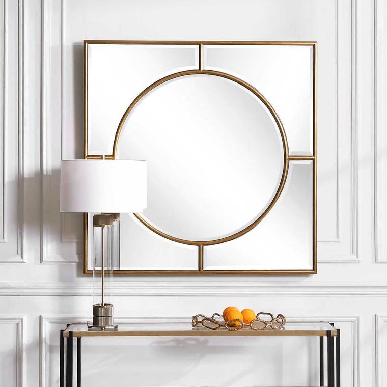 Stanford Gold Square Mirror - Size: 122H x 122W x 4D (cm)