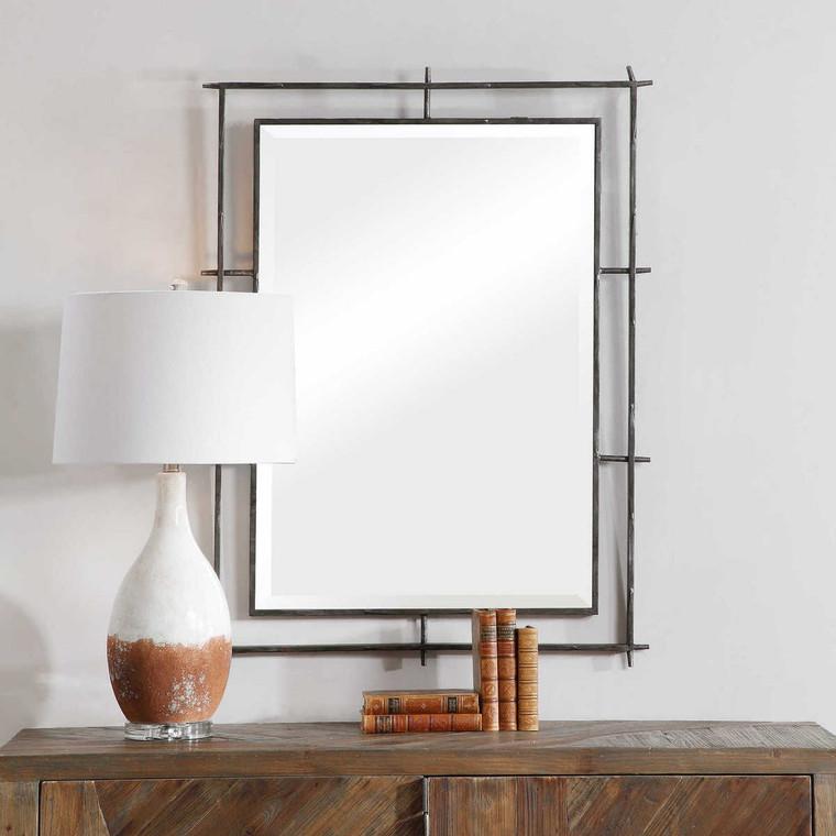 Ironworks Industrial Mirror - Size: 102H x 77W x 3D (cm)