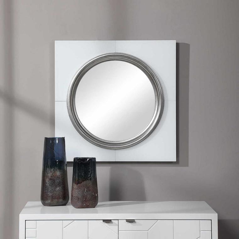Gouveia White Square Mirror - Size: 61H x 61W x 4D (cm)