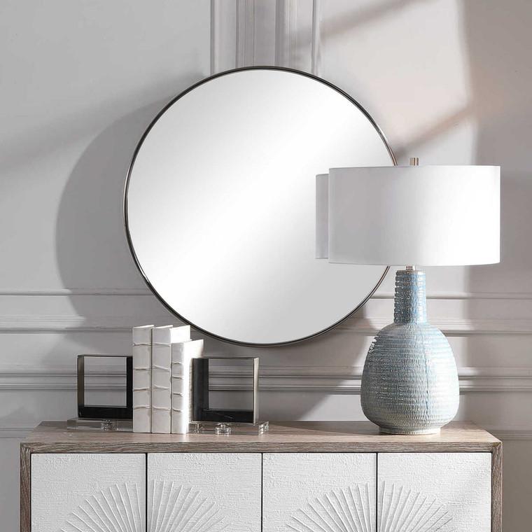 Coulson Nickel Round Mirror - Size: 80H x 80W x 11D (cm)