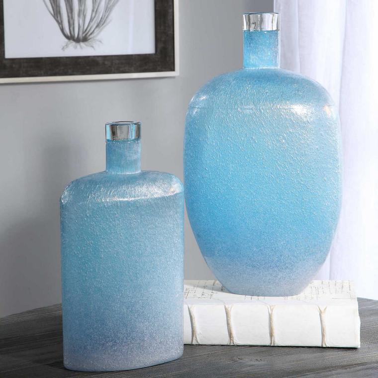 Suvi Blue Glass Vases Set/2 - Size: 38H x 22W x 14D (cm)