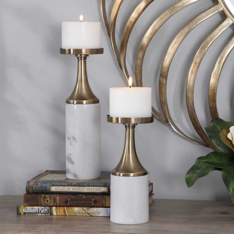 Castiel Marble Candleholders Set/2 - Size: 33H x 12W x 12D (cm)
