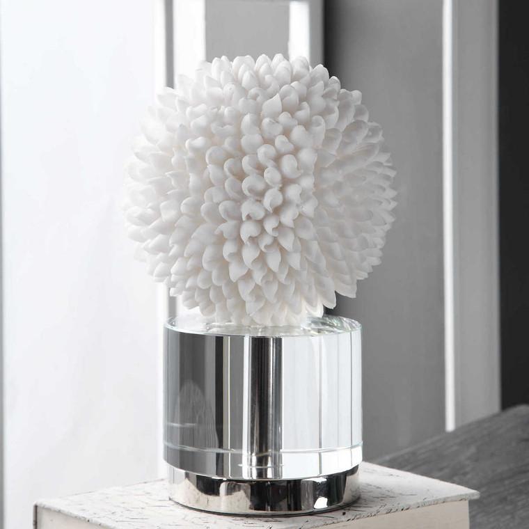 Cascara White Sculpture - Size: 25H x 16W x 16D (cm)