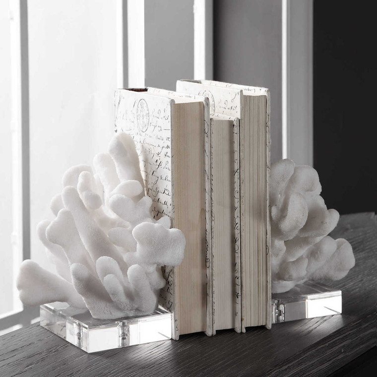 Charbel White Bookends Set/2 - Size: 23H x 15W x 19D (cm)