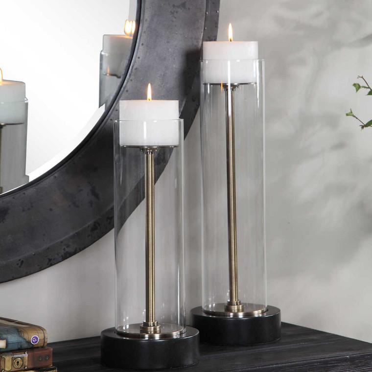 Charvi Glass Candleholders Set/2 - Size: 51H x 17W x 17D (cm)