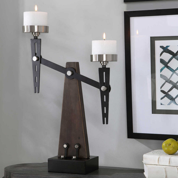 Cardiff Industrial Candleholder - Size: 59H x 43W x 14D (cm)