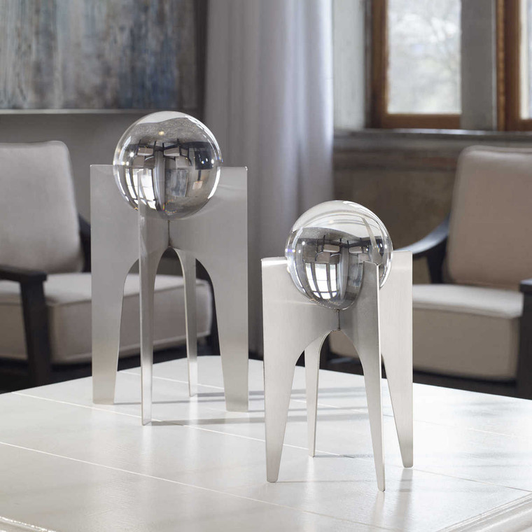 Ellianna Silver Sculpture Set/2 - Size: 40H x 18W x 18D (cm)