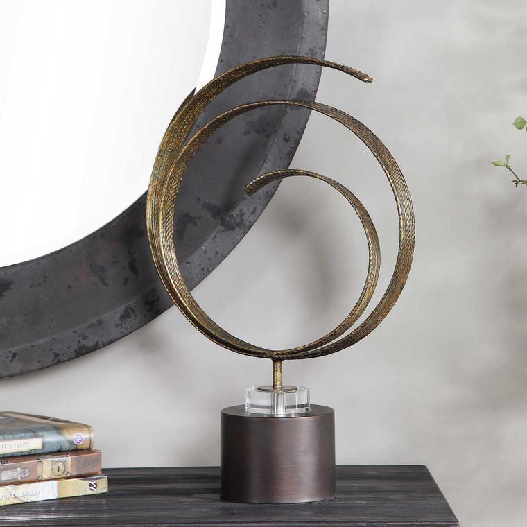 Elio Copper Patina Sculpture - Size: 52H x 36W x 14D (cm)