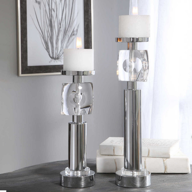 Kyrie Nickel Candleholders Set/2 - Size: 47H x 12W x 12D (cm)