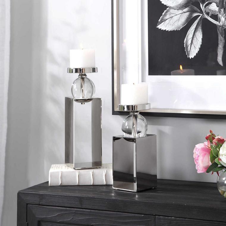 Lucian Nickel Candleholders Set/2 - Size: 37H x 11W x 11D (cm)