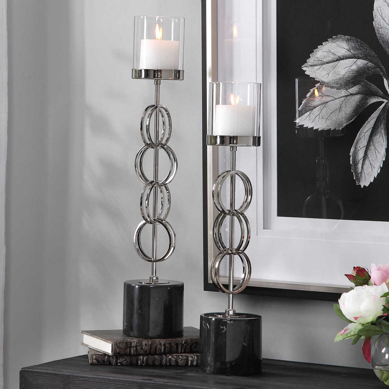 Esme Nickel Rings Candleholders Set/2 - Size: 62H x 12W x 12D (cm)