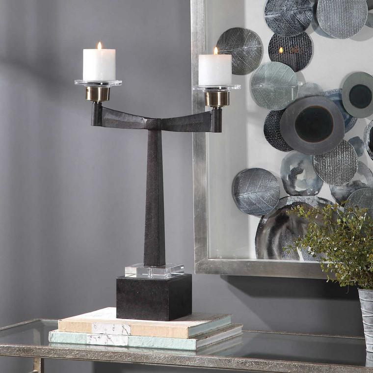 Elizer Aged Black Candleholder - Size: 53H x 43W x 13D (cm)