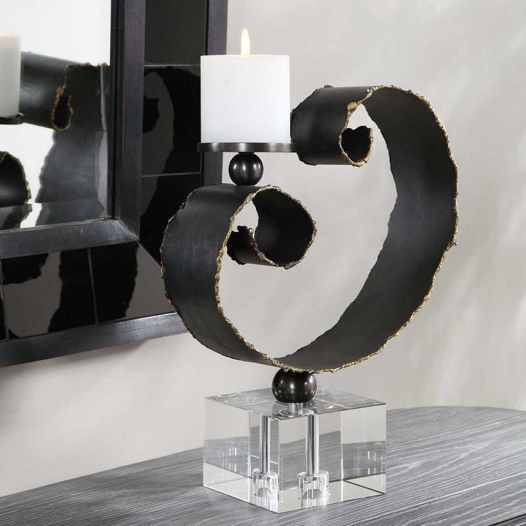 Yarina Dark Bronze Candleholder - Size: 37H x 28W x 13D (cm)