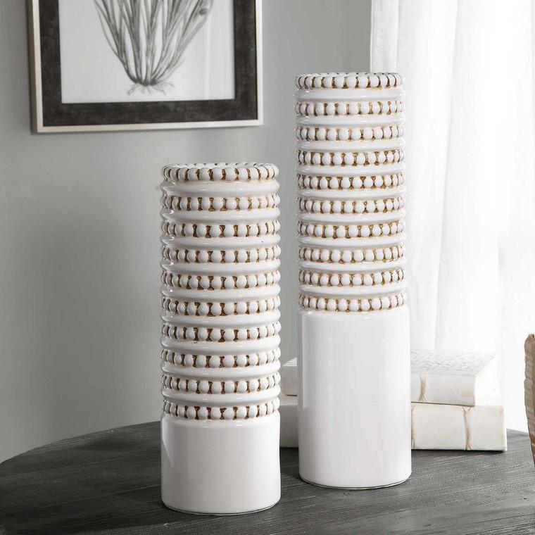 Angelou White Vases Set/2 - Size: 46H x 13W x 13D (cm)