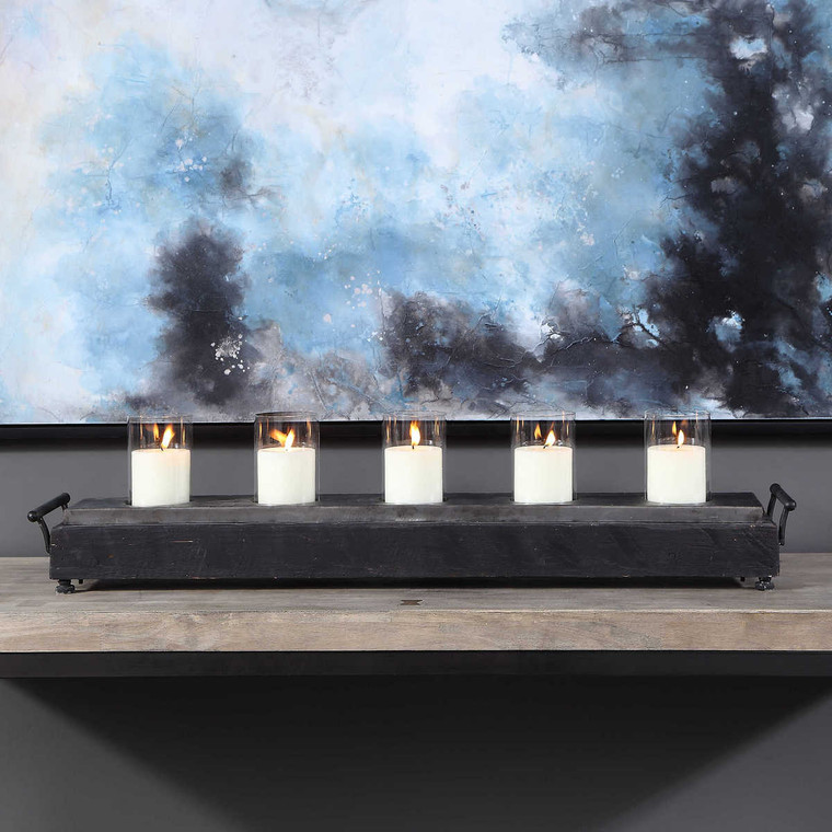 Cordaro Charcoal Wood Candleholder - Size: 22H x 94W x 18D (cm)