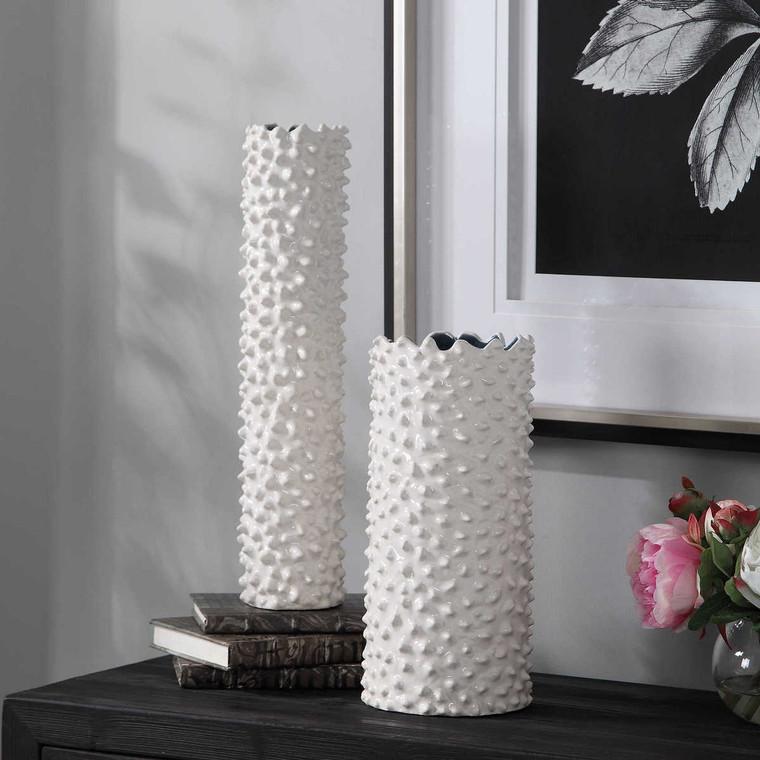 Ciji White Vases Set/2 - Size: 46H x 11W x 11D (cm)