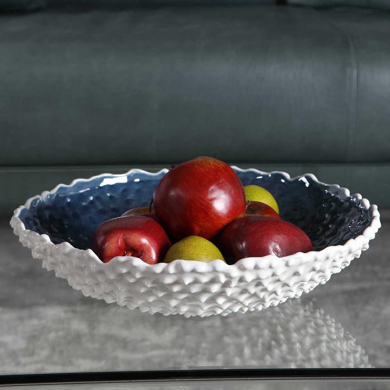 Ciji White Bowl - Size: 8H x 36W x 36D (cm)