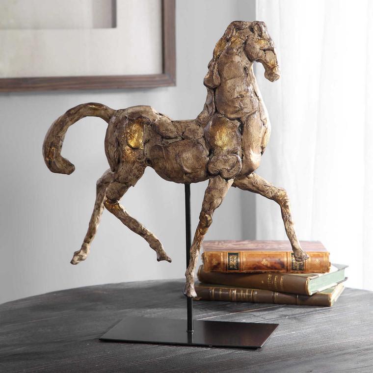 Caballo Dorado Horse Sculpture - Size: 42H x 36W x 13D (cm)
