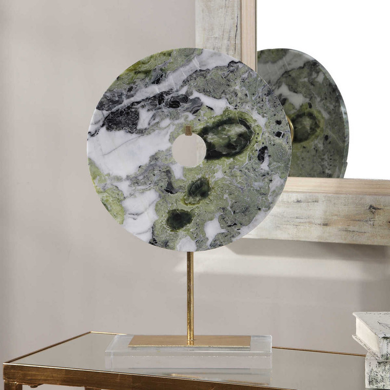 Irelyn Marble Disk Sculpture - Size: 46H x 30W x 12D (cm)