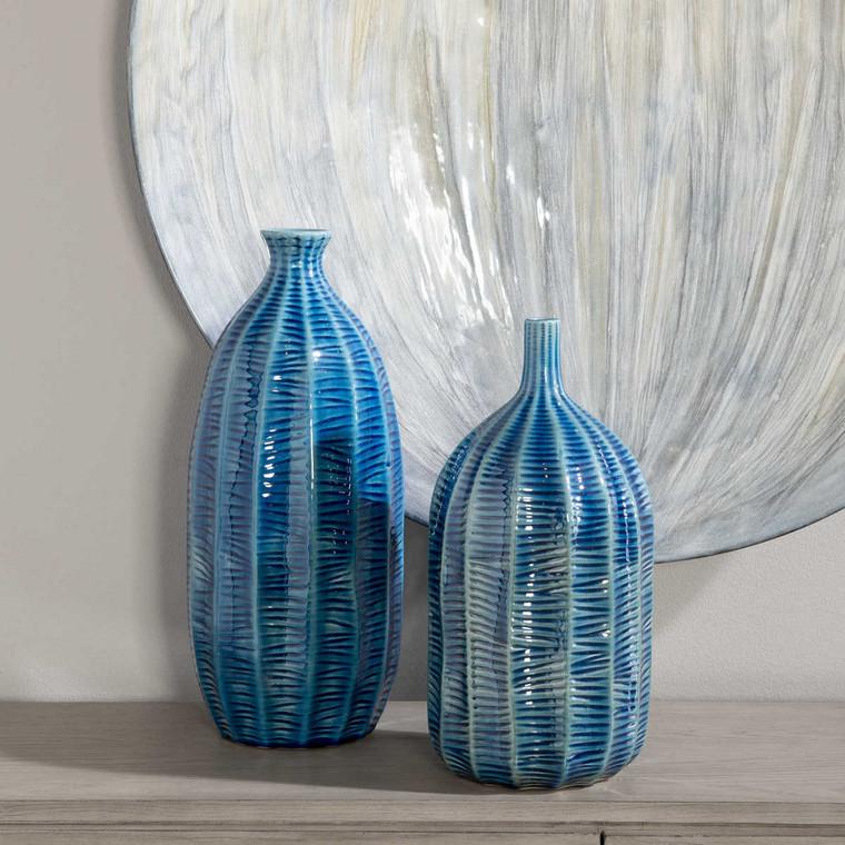 Bixby Blue Vases Set/2 - Size: 38H x 18W x 18D (cm)