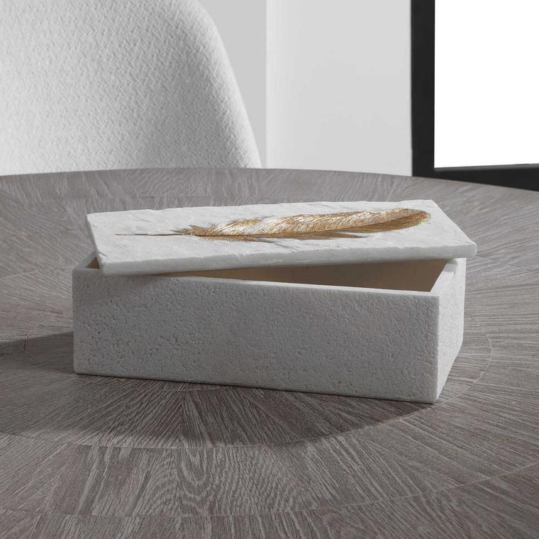 Nephele White Stone Box - Size: 16H x 31W x 11D (cm)