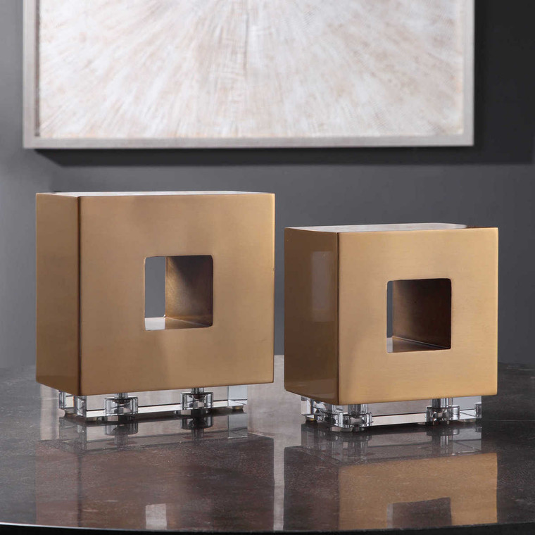 Rooney Brass Cubes Set/2 - Size: 22H x 20W x 11D (cm)