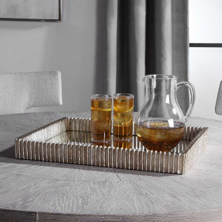 Talmage Silver Mirrored Tray - Size: 6H x 51W x 41D (cm)