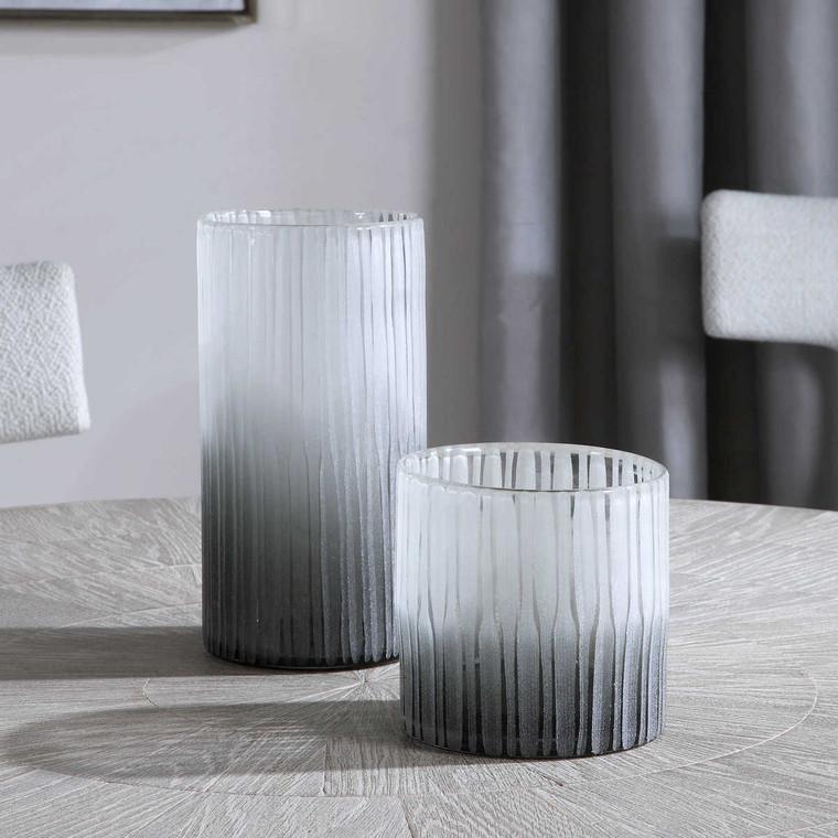 Como Etched Glass Vases Set/2 - Size: 27H x 14W x 14D (cm)