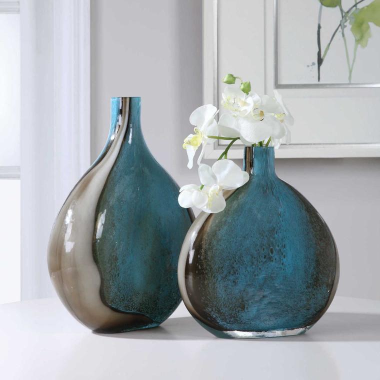 Adrie Art Glass Vases Set/2 - Size: 35H x 28W x 11D (cm)