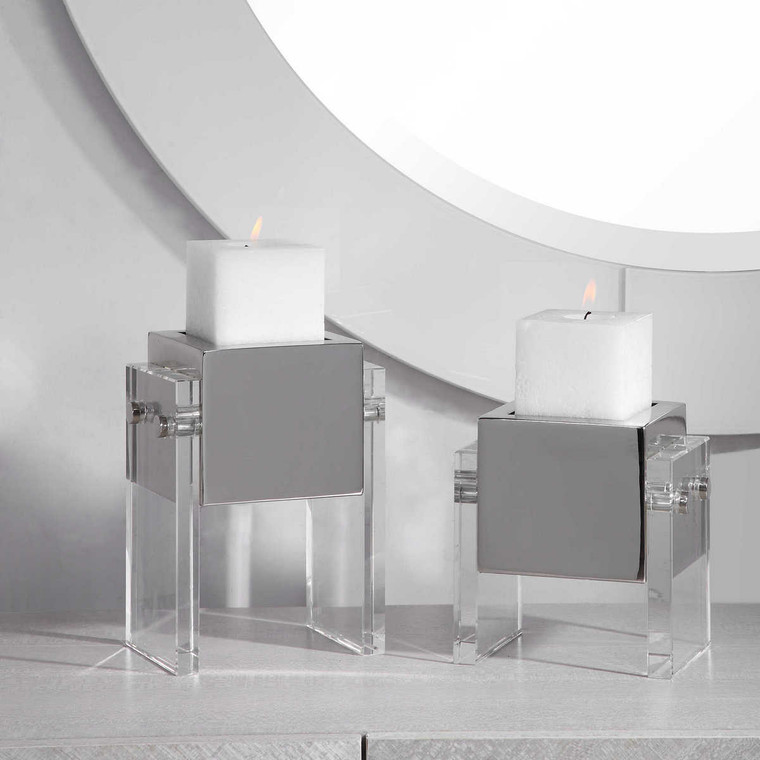 Sutton Square Candleholders Set/2 - Size: 22H x 16W x 11D (cm)