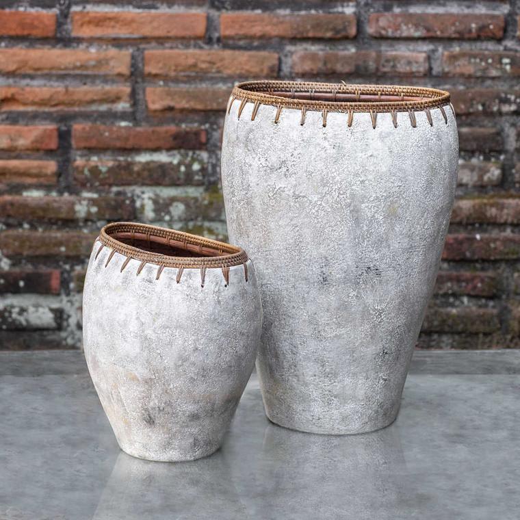 Dua Terracotta Vases Set/2 - Size: 46H x 30W x 23D (cm)