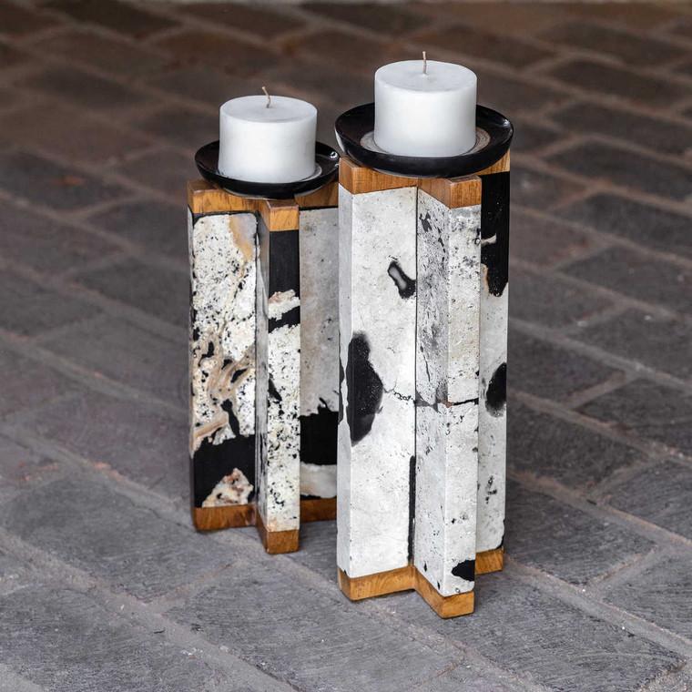 Illini Stone Candleholders Set/2 - Size: 39H x 14W x 14D (cm)