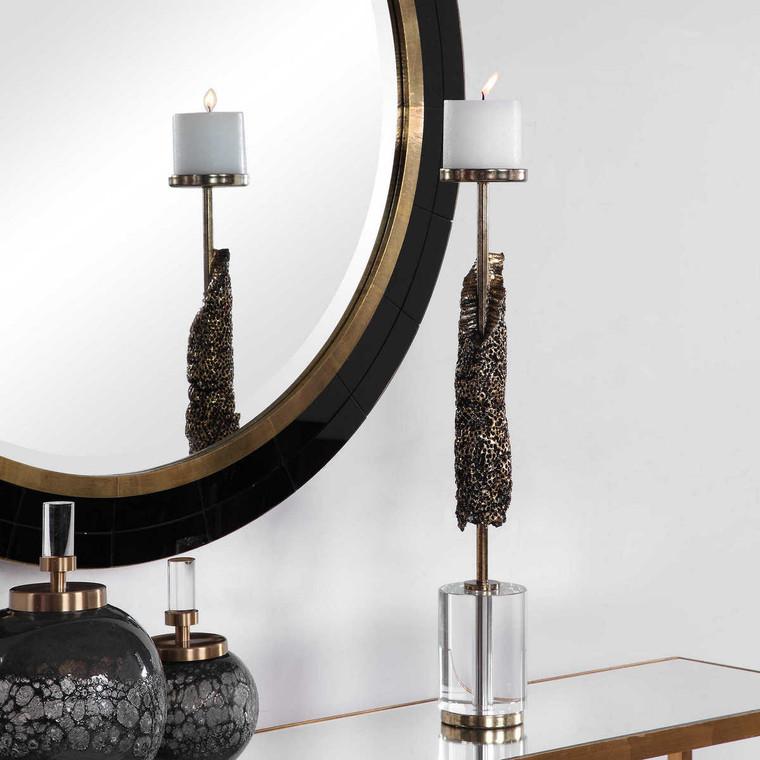 Anwen Antique Gold Candleholder - Size: 53H x 9W x 9D (cm)