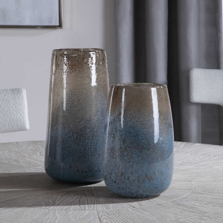 Ione Seeded Glass Vases Set/2 - Size: 33H x 19W x 19D (cm)