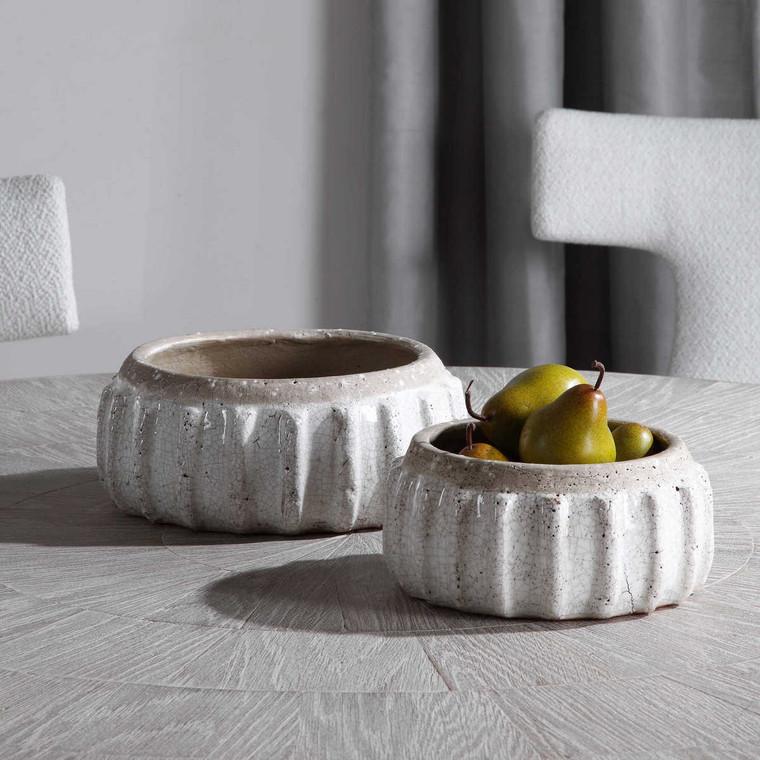 Azariah Distressed Bowls Set/2 - Size: 11H x 27W x 27D (cm)